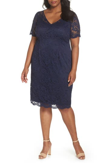 Plus Size Adrianna Papell Stretch Lace Sheath Dress, Red