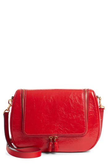 Small Vere Lambskin Leather Crossbody Satchel - Red