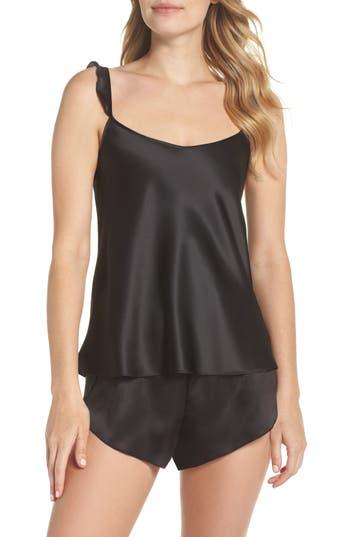 Black Bow Robyn Satin Short Pajamas, Black