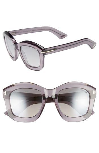 Tom Ford Julia 50Mm Gradient Square Sunglasses - Grey Acetate/ Palladium