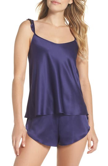 Black Bow Robyn Satin Short Pajamas, Blue
