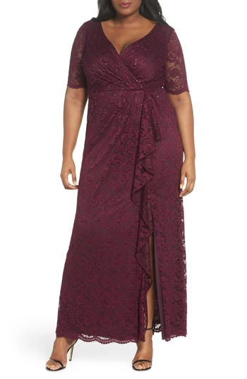 1930s Art Deco Plus Size Dresses | Tea Dresses, Party Dresses Plus Size Womens Adrianna Papell Cascade Ruffle Sequin Lace Gown $269.00 AT vintagedancer.com