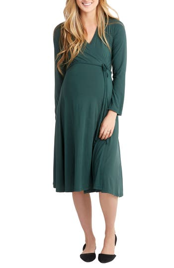 Vintage Style Maternity Clothes Womens Nom Maternity Tessa Jersey Maternitynursing Wrap Dress Size X-Large - Green $98.00 AT vintagedancer.com
