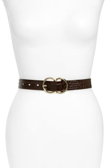 Halogen Double Ring Croc Embossed Faux Leather Belt, Brown Saddle