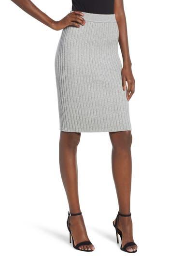 Leith Rib Knit Skirt, Grey
