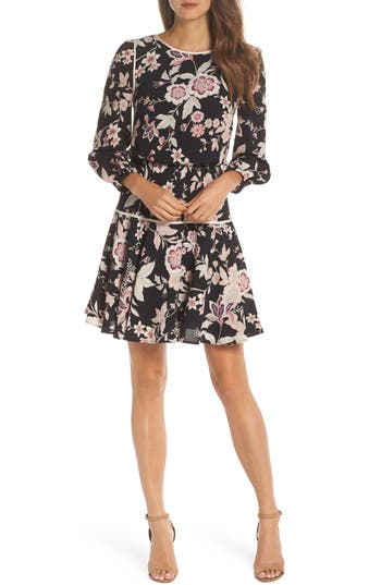 Eliza J Floral Fit & Flare Dress, Black
