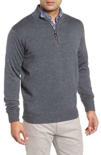 Peter Millar Crown Soft Wool Blend Quarter Zip Sweater, Grey