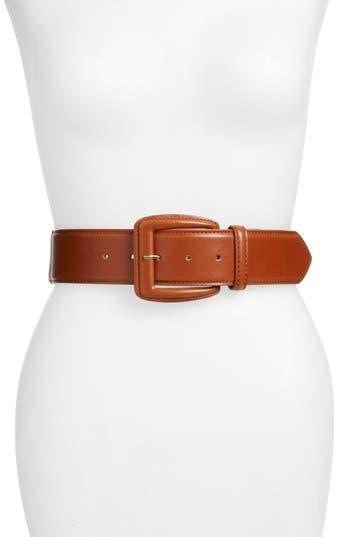 Halogen Faux Leather Stretch Belt, Cognac