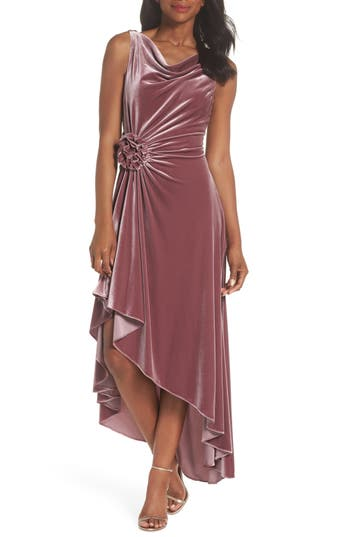 Eliza J Drape Neck Midi Dress, Pink