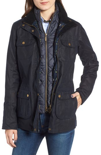 Barbour Chaffinch Water Resistant Waxed Cotton Jacket, US / 8 UK - Blue