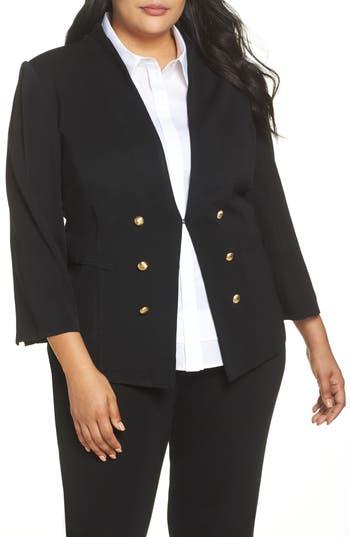 Plus Size Ming Wang Button Detail Sweater Jacket, Black