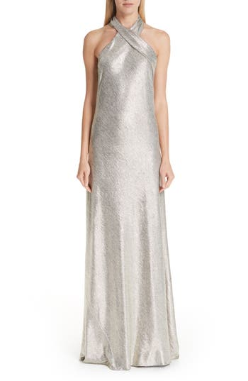 1960s – 70s Cocktail, Party, Prom, Evening Dresses Womens Galvan Twist Halter Neck Metallic Gown $1,495.00 AT vintagedancer.com