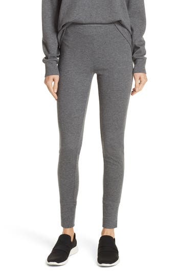 Vince Heathered Cotton Blend Leggings, Grey