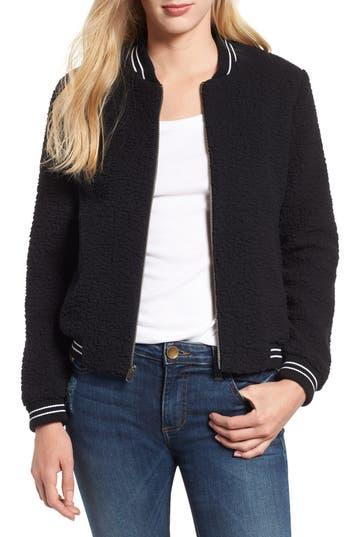 Lucky Brand Anaelisa Fleece Bomber Jacket, Black