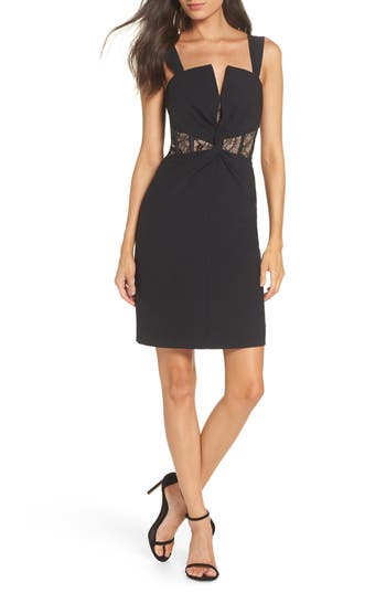 Harlyn Corset Detail & Lace Inset Cocktail Dress, Black