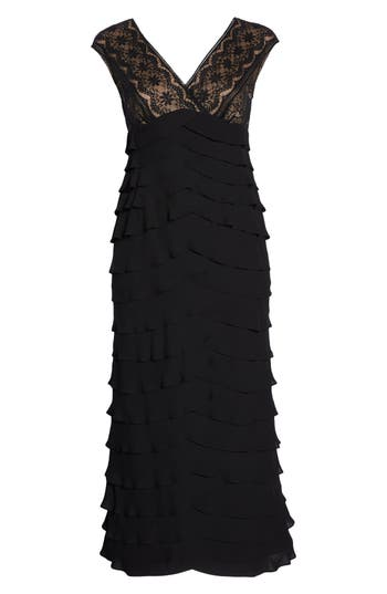 Plus Size Adrianna Papell Lace & Shutter Pleat Gown