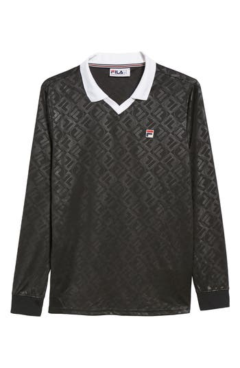 Fila Carter Johnny Collar Long Sleeve Polo, Black