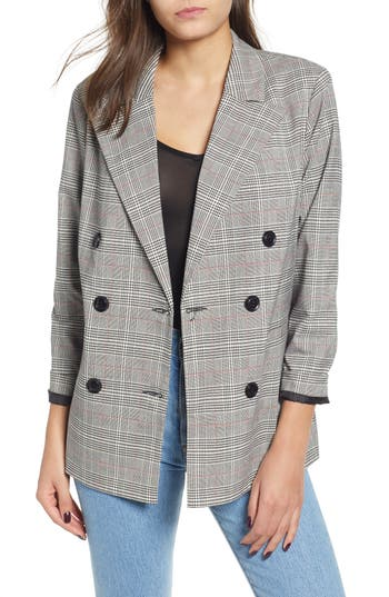 Double Breasted Jacket, Candy Pink Plaid