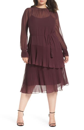 1920s Style Dresses, Flapper Dresses Womens Chelsea28 Pleat Detail Midi Dress $149.00 AT vintagedancer.com