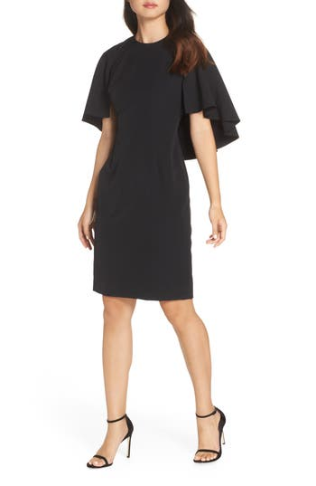 Eliza J Cape Sleeve Dress, Black