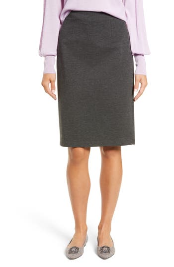 Halogen Ponte Pencil Skirt, Grey