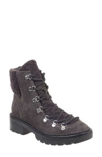 Marc Fisher Ltd Capell Genuine Shearling Cuff Lace-Up Boot, Grey