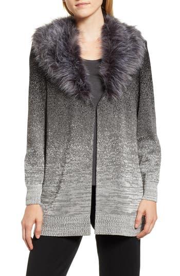 Ming Wang Faux Fur Trim Knit Jacket, Grey