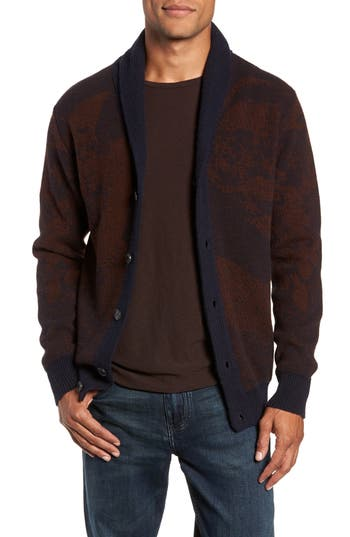 BILLY REID Peacock Shawl Collar Wool Blend Cardigan in Navy/ Rust