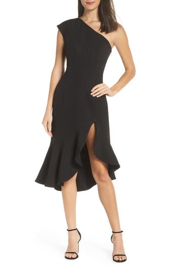 Keepsake The Label Mirrors One-Shoulder Asymmetrical Dress, Black