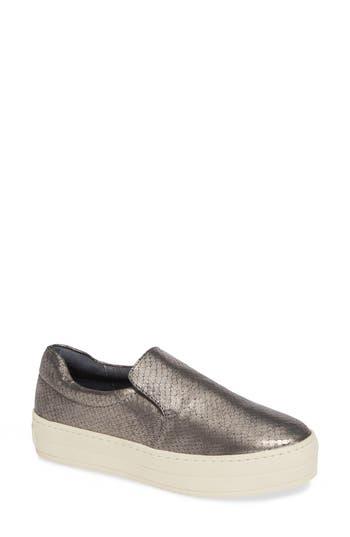 Harry Slip-On Sneaker, Pewter Embossed Leather