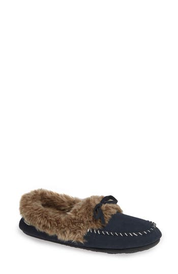 ACORN Faux Fur Trim Moccasin Indoor/Outdoor Slipper, Mineral Stone Suede