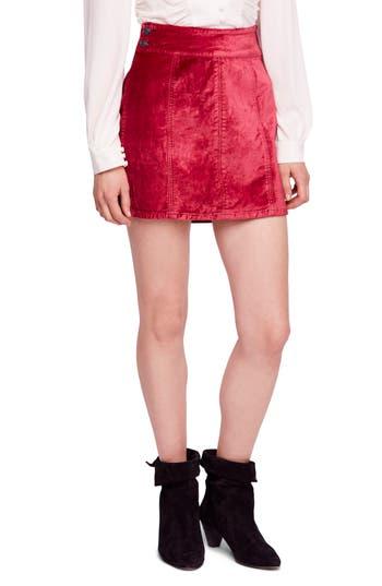 Free People Velvet Miniskirt, Red