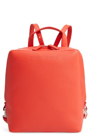 Cube Leather Backpack - Red, Campari