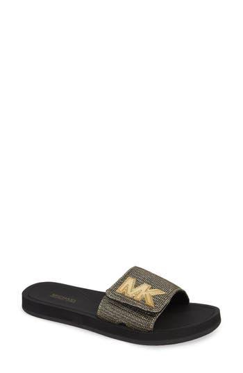 Michael Michael Kors Mk Logo Slide Sandal, Black