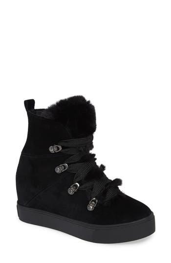 Jslides Whitney Faux Fur Trim High Top Sneaker, Black