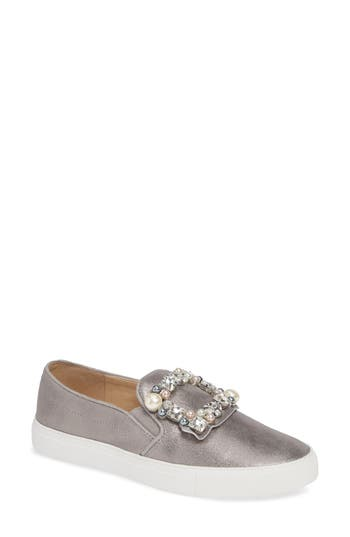 Evelyn Imitation Pearl Embellished Sneaker, Pewter Suede
