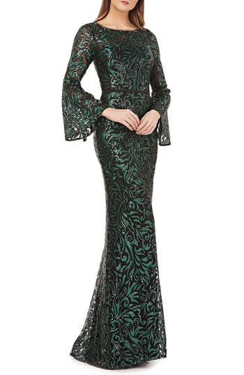 Carmen Marc Valvo Infusion Sequin Embroidered Trumpet Gown, Green