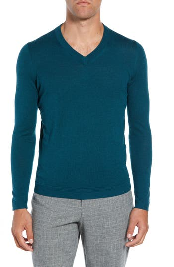 Ted Baker London Noel Slim Fit V-Neck Wool Blend Sweater, Blue/green