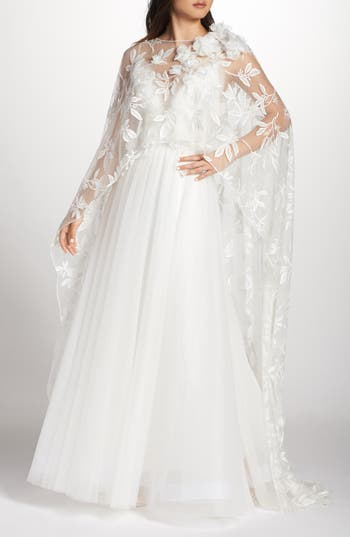 Vintage Style Wedding Dresses, Vintage Inspired Wedding Gowns Womens Tadashi Shoji Floral Embroidered Cape $578.00 AT vintagedancer.com