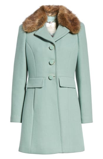 Vintage Coats & Jackets | Retro Coats and Jackets Womens Kate Spade New York Faux Fur Collar Wool Blend Coat Size X-Small - Green $358.00 AT vintagedancer.com