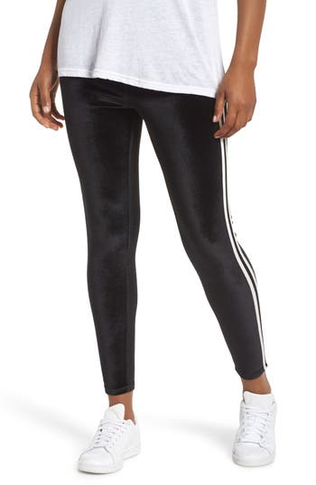 Nordstrom Stripe Velvet Leggings, Black