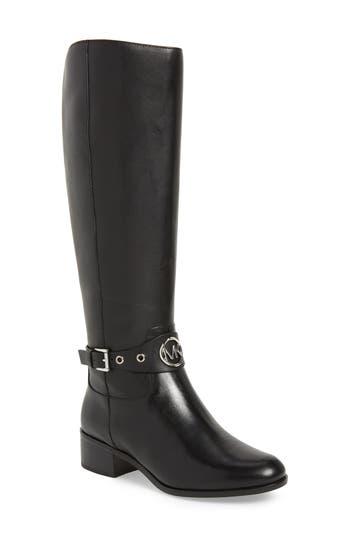 Michael Michael Kors Heather Knee High Boot Regular Calf- Black