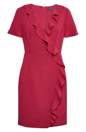French Connection Alianor Stretch Frill Dress, Red