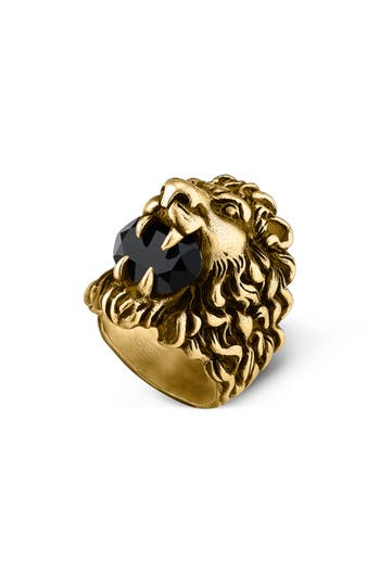 Lion Head Aureco Crystal Ring, Gold