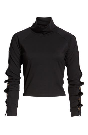 Armour Popper Sleeve Top, Black