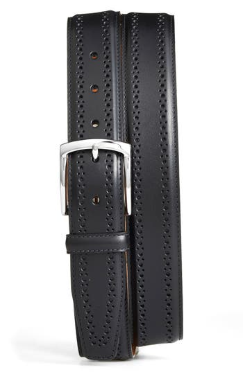 Big & Tall Allen Edmonds Manistee Brogue Leather Belt, Black