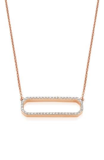 Women's Monica Vinader 'Naida' Open Rectangle Diamond Pendant Necklace