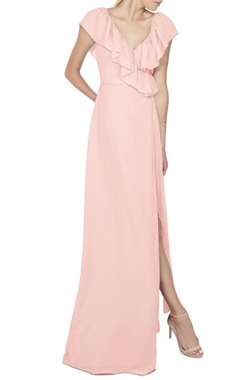 Women's Ceremony By Joanna August 'Lolo' Ruffle V-Neck Chiffon Wrap Gown