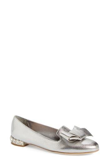 Women's Miu Miu Bow Loafer, Size 6US / 36EU - Metallic