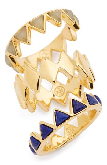 Women's Tory Burch 'Puzzle' Stone Rings (Set Of 3)
